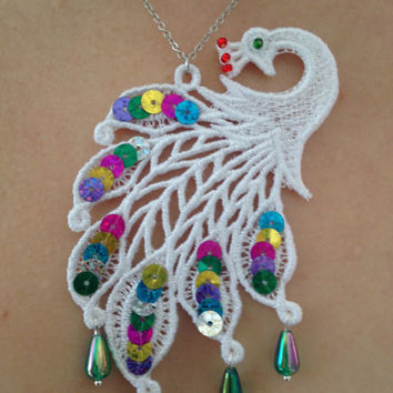 Lace peacock necklace White lace necklace Lace necklace Peacock necklace Love gift Gift for her Mother gift Sequin necklace Sequin jewelry