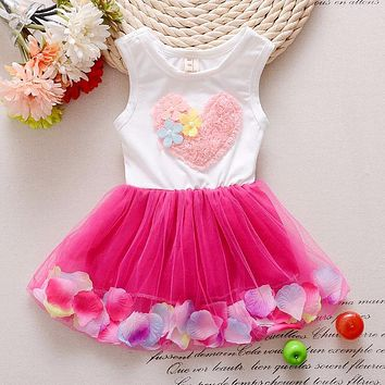 Baby Dress Promotion Knee-length Beach Floral 2017 New Summer Fashion Colorful Mini Dress Love Petal Princess Baby Clothes Girl