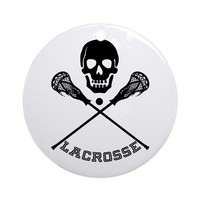 SKULL AND LACROSSE STICKS ROUND ORNAMENT