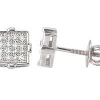 925 Silver Mens Womens CZ Stud Earrings Screw Back 6mm Square