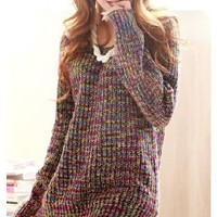 Women Purple Knitting V-Neck Long Sleeve Fitting Free Size Sweater@A135pu
