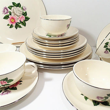 Vintage Homer Laughlin dinnerware set, Pink, White and Lavender flower center, platinum rim,  21 piece set