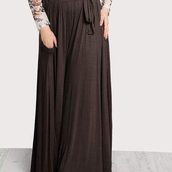 High Rise Front Tie Flowy Palazzo Pants