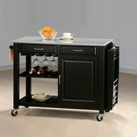 Chefs Helper Black finish wood kitchen island cart with granite top and casters