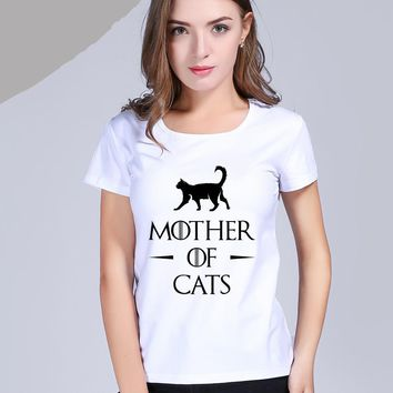 Mother Of Cats T-Shirts - Ladies Crew Neck Novelty Top Tee