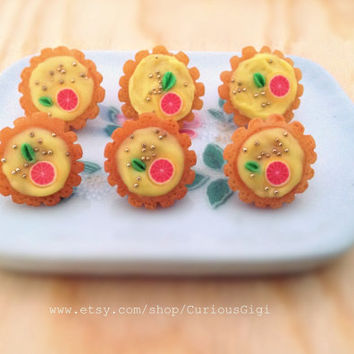 Original Polymer clay art Miniature tart earrings, collectible food jewelry, art doll pastries, easter & spring trendy jewelry