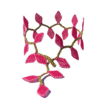 Handmade lace bracelet bright fuchsia pink lariat leaf bracelet vine embroidered bracelet nature bracelet boho wrap fall leaves jewelry Tagt