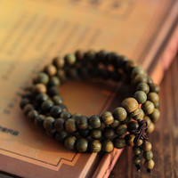 Sandalwood Buddhist Meditation 6mm*108 Prayer Bead Mala Bracelet/Necklace Green  #D0410