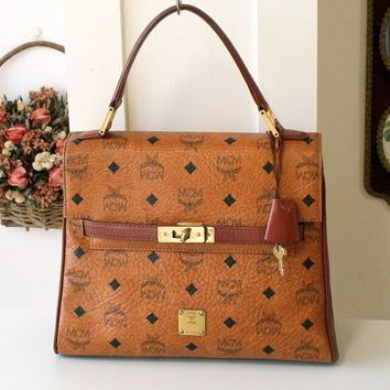 1442165cdb Vintage MCM Visetos Cognac Large Tote Hand Bag German 100% authe