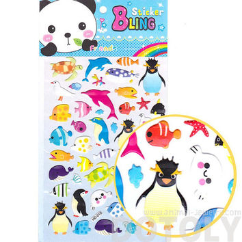 Large Kawaii Arctic Animal Penguin Fish Turtles Shaped Jelly Stickers | Animal Themed Scrapbook Decorating Supplies