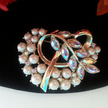 Designer Signed Jewelry - Vintage Coro Signed Brooch - Vintage Rhinestone Brooch - 1950's 1960's Collectible - Old Hollywood Glamour
