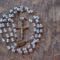 Vintage Rosary Necklace Five Decade Clear Glass Beads Brass Religious Necklace 1950's // Vintage Costume Jewelry / Livin' On A Prayer