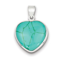 Turquoise Heart Pendant in Sterling Silver - Mirror Finish - Women - Stunning