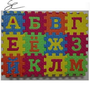 Russian alphabet toys Kids baby play puzzle mats 55 * 55MM carpet rugs babies puzzle 33PCS Russian Language & 3PCS number of fo