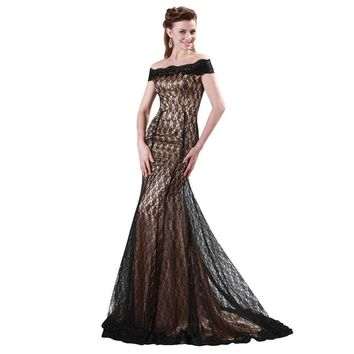 Black Lace Mermaid Evening Dresses Off Shoulder boat neck Luxury Formal Gowns Sexy Celebrity Dress