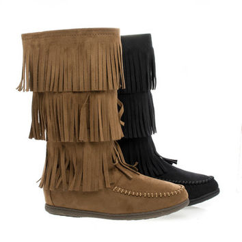 Import Round Toe Mid Calf Layered Fringe Moccasin Flat Boots
