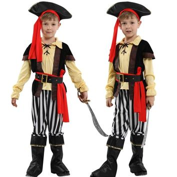 Halloween Kids boys pirate + hat costumes/cosplay for boys cosplay costumes for kids/children cosplay Girl costumes dress up
