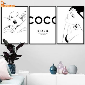Modern Fashion Girl Quotes Wall Art Canvas Painting Nordic Posters And Prints Black White Wall Pictures For Living Room Decor