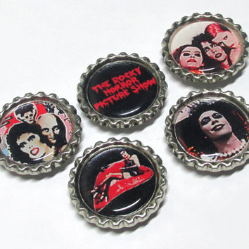Rocky Horror Magnets / Bottle Cap Magnet Set / Rocky Horror Picture Show Bottlecap / Frank N Furter / Fridge Magnets / Cult Classics