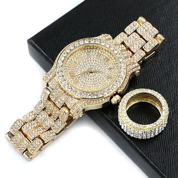 HIP HOP ICED OUT RAONHAZAE LIL G GOLD FINISHED LAB DIAMOND WATCH & RING SET.