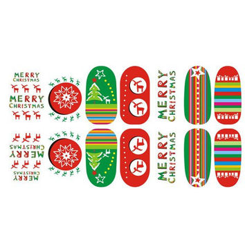One Sheet Xmas Tree and Letters Pattern Nail Art Sticker