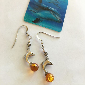 Dolphin Earrings Handmade Sterling Silver and Baltic Amber Jewelry Dainty Jumping Dolphin Earrings Minimalist Modern Sea Themed Earrings