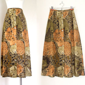 Vintage 80s 90s Leopard Print High Waist Full Maxi Skirt - Women's Orange Black Brown Big Cat Animal Print Long Flowy Skirt - Size Small