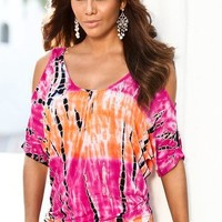 Tie-dye cold-shoulder top - Boston Proper