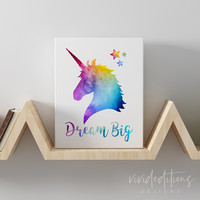 'Dream Big' Unicorn Gallery Wrapped Canvas