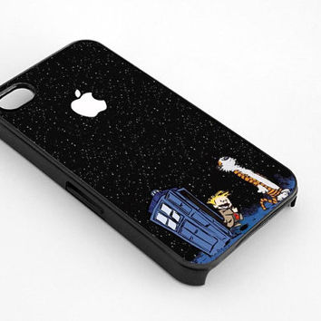Calvin and Hobbes Apple Logo for iphone 4/4s case, iphone 5/5s/5c case, samsung s3/s4 case cover