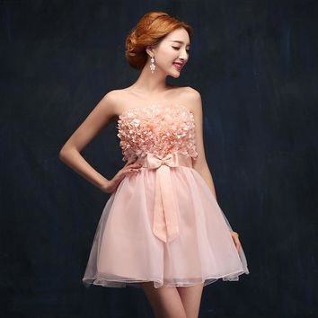 Flower Pink Short Prom dresses New Beautiful Girl Women Wedding Party Special Occasion Dresses prom dress