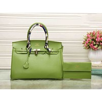 Hermes Trending Women Simple Pure Color Leather Crossbody Satchel Shoulder Bag Handbag Green I-XS-PJ-BB