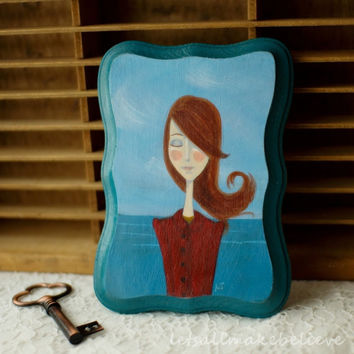 Cute Art Original Painting Acrylic on Wooden Plaque 5x7 Portrait of Girl Affordable Original Art Molly at Sea