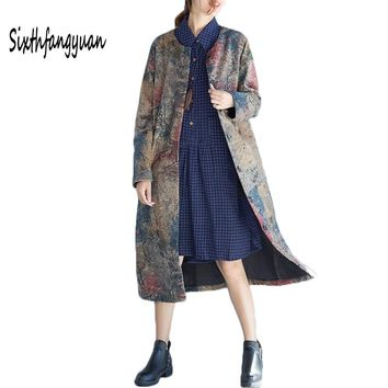 2018 Vintage Print Women Warm Autumn Winter Long Maxi Trench Coat for Women Female Wool Casual Coat Jacket Coats Casaco Feminino