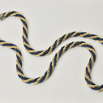 80s Vintage Navy Blue & Gold Twisted Rope Necklace / Nylon Cord and Gold Tone Metal / Long Braided Rope Chain Necklace / Dark Blue and Gold