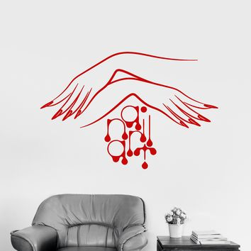 Vinyl Wall Decal Nail Studio Manicure Logo Women's Hands Stickers (2138ig)