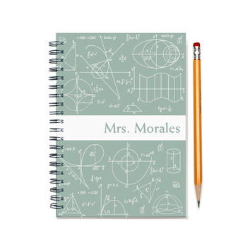 Personalized notebook for a Math Nerd, Math Teacher Gift Idea, Custom Journal, Math Geek Notebook, Formulas, Number Lover, SKU: math wht