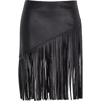 River Island Womens Black fringed leather-look skirt