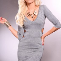 Grey Quarter Sleeve V Neck Metallic Shimmer Cutout Sides Dress @ Amiclubwear sexy dresses,sexy dress,prom dress,summer dress,spring dress,prom gowns,teens dresses,sexy party wear,women's cocktail dresses,ball dresses,sun dresses,trendy dresses,sweater dre