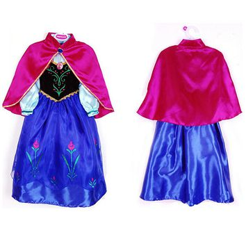 Anna Elsa Dresses For Girls Easter Snow Queen Winter Party Birthday Christmas Kids Dress Shawl Wedding Princess Evening Costumes
