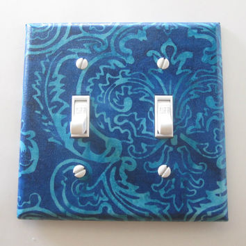 "Wall Decor ""Bleu-de-Lyz"", Two Toggle Decorative Switch Plate. Modern, Classic Switch Plate. Handmade. Color & Style. Creative Gifts."