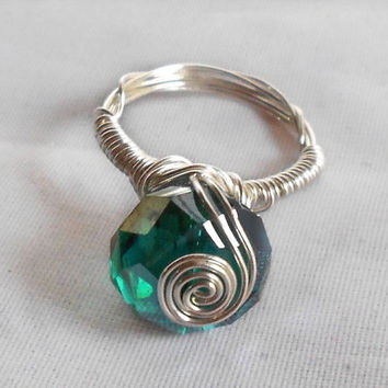 Peacock Bling - Non-Tarnish Silver Wire Wrap Ring with Peacock Green Swarovski Rondelle - Gift Ideas for Her