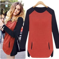 Color Block Long Sleeve Pocketed Blouse
