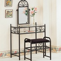 3 pc black metal finish heart shaped bedroom vanity make up set