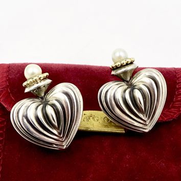 Vintage Lagos Caviar Sterling Silver 18K Gold Fluted Heart Pearl Earrings