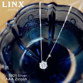 Fashion 925 Sterling Silver Jewelry AAA Zircon Necklace Six Claw Cubic Zirconia Silver Necklaces & Pendants For Women CY073