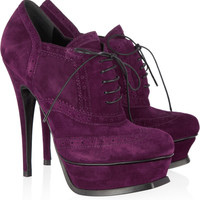 Yves Saint Laurent | Suede brogue ankle boots | NET-A-PORTER.COM