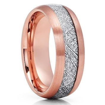 Rose Gold Tungsten Wedding Band - Meteorite Wedding Band -Meteorite Ring