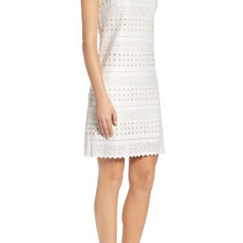 Eliza J Laser Cut Scuba Dress (Regular & Petite) | Nordstrom