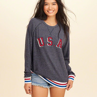 Girls Graphic Crew Sweatshirt | Girls Tops | HollisterCo.com